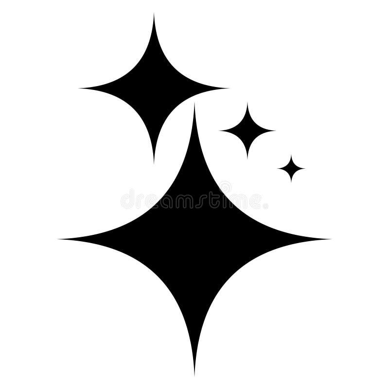 Блеск символа значка, звезды вектора сияющие светит, очищенность знака и лоск иллюстрация штока