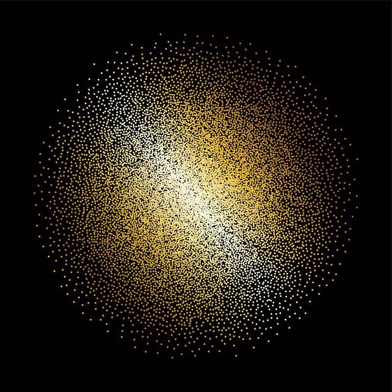 Блесточки, искры, splatter или ночное небо крошечного золота блестящие с золотой картиной вектора звезд Брызги руки вычерченные,  иллюстрация штока