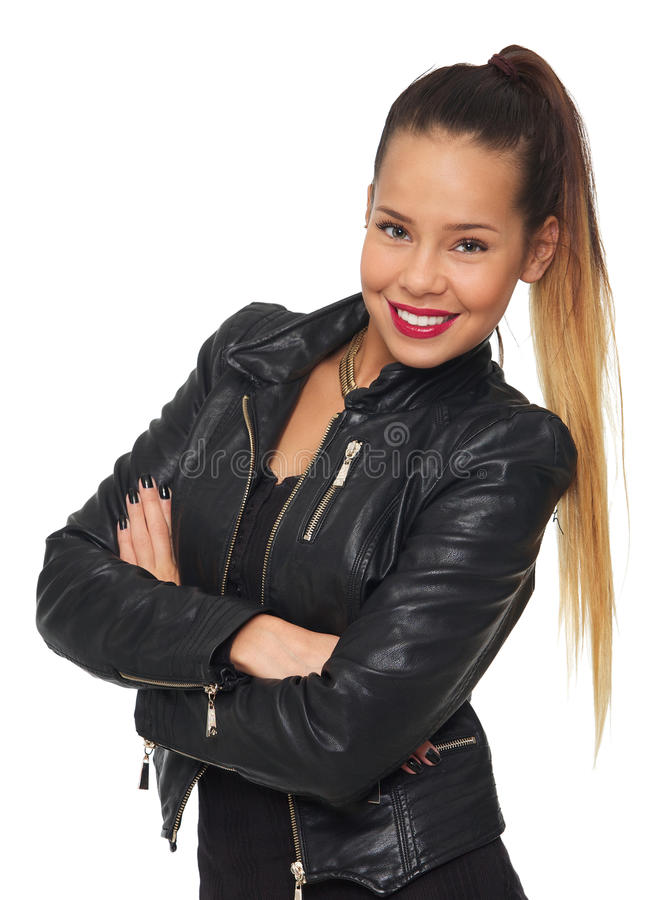 Блестящая женщина в кожаной куртке стоковое изображение rf