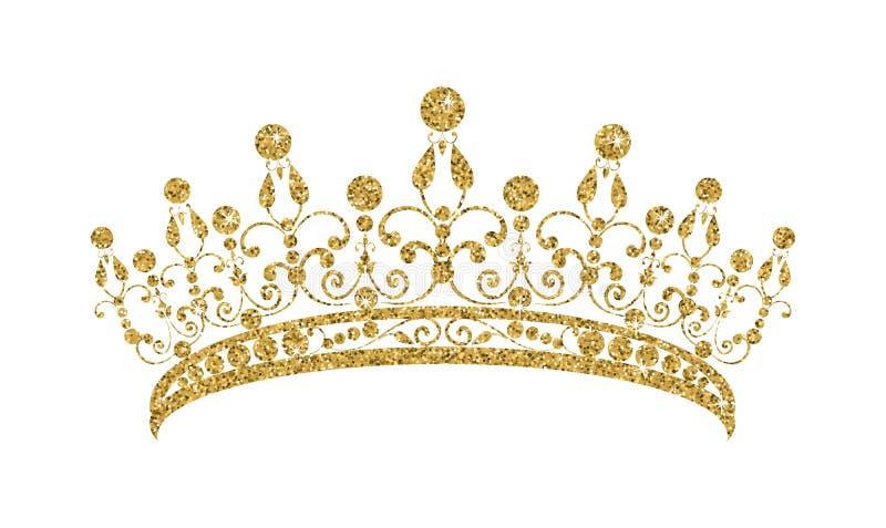 Блестящий Diadem Золотая тиара изолированная на белой предпосылке иллюстрация вектора