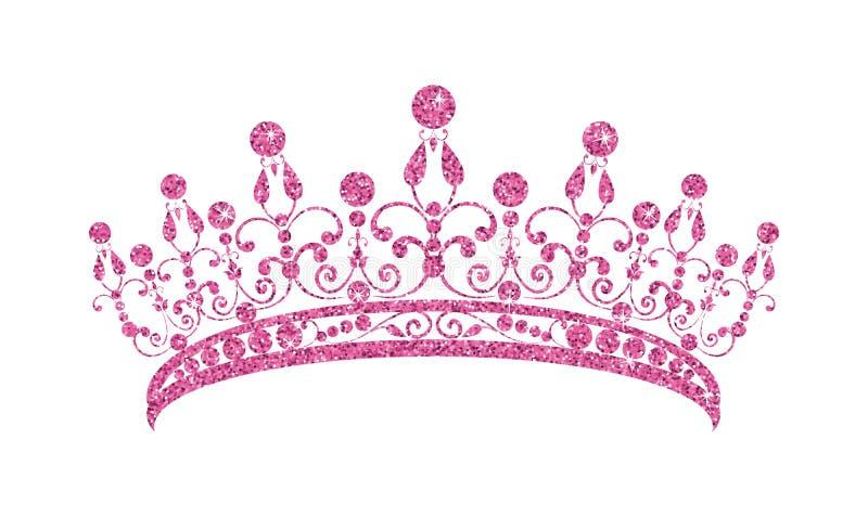 Блестящий Diadem Розовая тиара изолированная на белой предпосылке иллюстрация штока