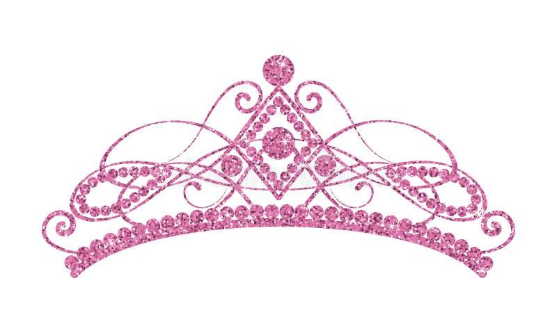 Блестящий Diadem Розовая тиара изолированная на белой предпосылке иллюстрация вектора