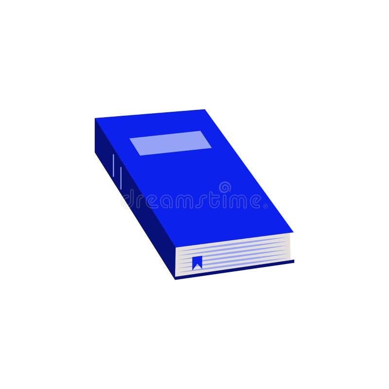Близкая бумажная книга с значком голубого книга в твердой обложке плоским для назад к школе или литературоведческой концепции отд иллюстрация штока