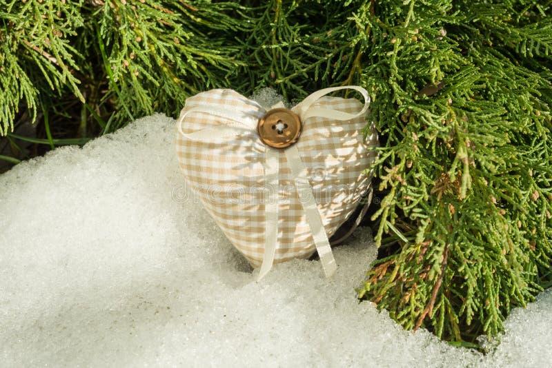 близкая весна Снег-плавя предпосылка снега с зеленым кипарисом разветвляет с handmade сердцем стоковое фото