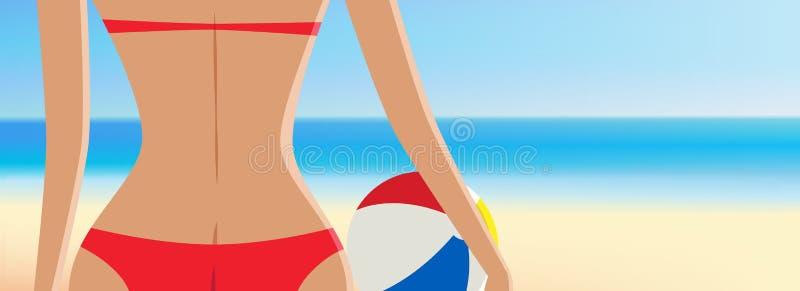 Близкая поднимающая вверх девушка в красном бикини с иллюстрацией вектора шарика иллюстрация вектора