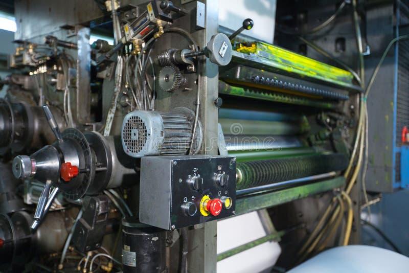 близкий магазин печати машины детали цвета вверх по желтому цвету стоковое изображение rf