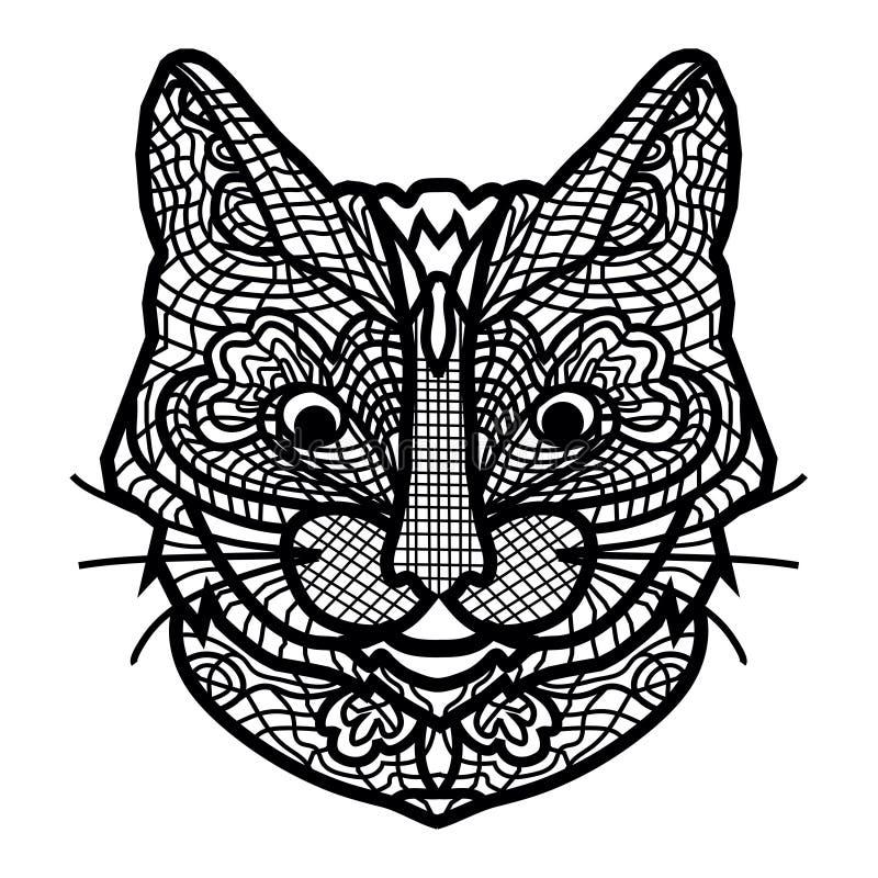 Близкий поднимающий вверх кот рукописный бесплатная иллюстрация