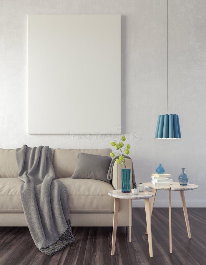 Близкий поднимающий вверх плакат в предпосылке 3d комнаты прожития хипстера представить бесплатная иллюстрация