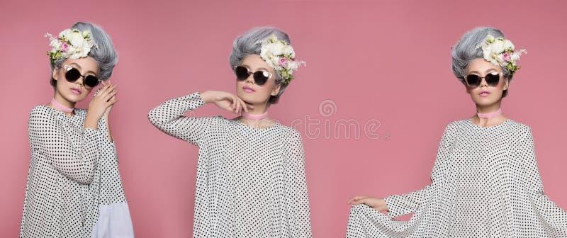Близкий поднимающий вверх портрет красоты в платье полька-точки Коллаж 3 фото Предпосылка студии моды яркая розовая Способ стоковое изображение