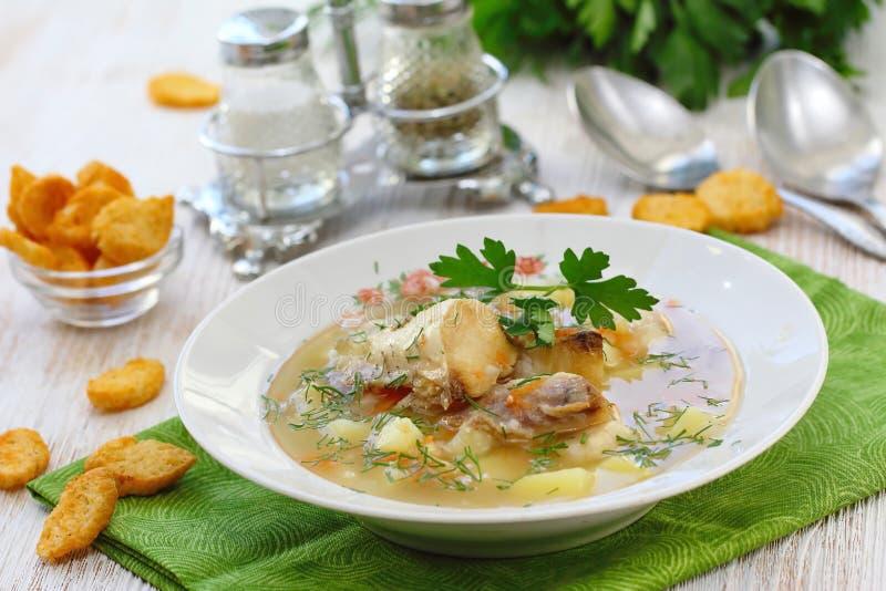 близкий суп съемки рыб вверх Очень вкусный суп с белыми рыбами стоковое фото rf