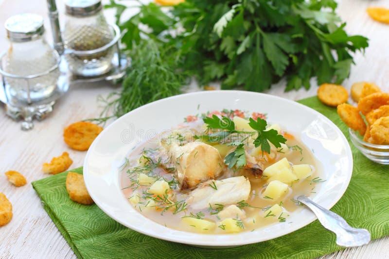 близкий суп съемки рыб вверх Очень вкусный суп с белыми рыбами стоковое изображение rf