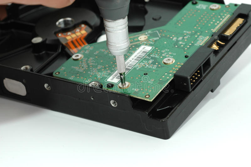 близкий hard дисковода раскрытый вверх стоковые фото