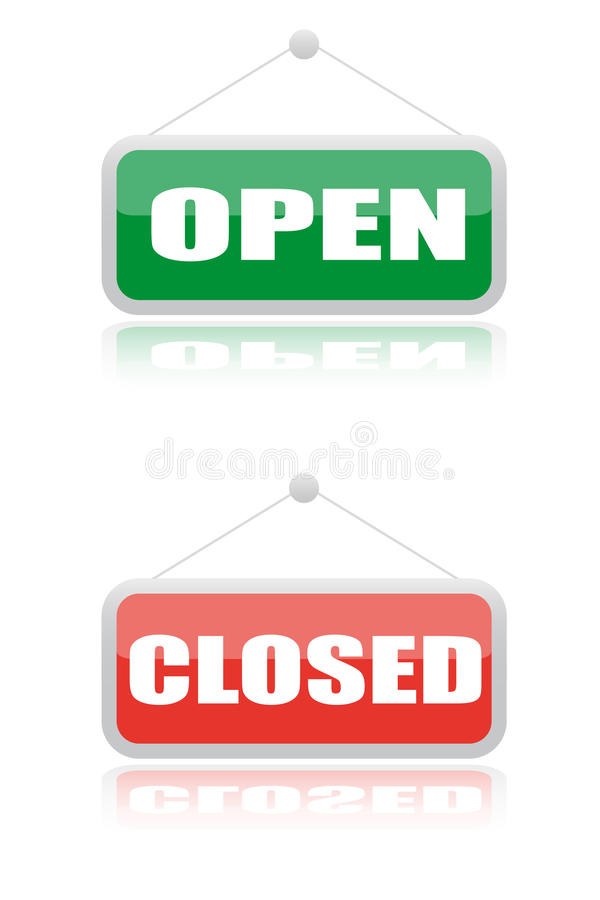 близкий signboard открытых магазинов бесплатная иллюстрация