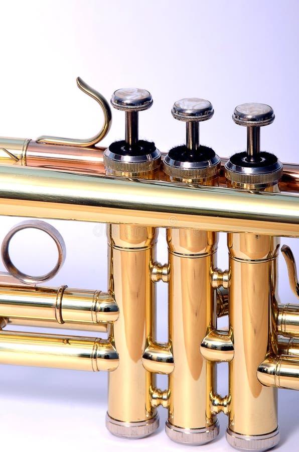 близкий trumpet вверх по клапанам стоковое изображение rf