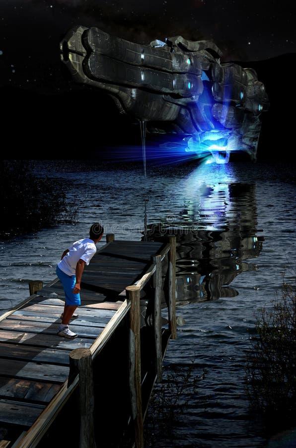 Близкое знакомство на озере бесплатная иллюстрация
