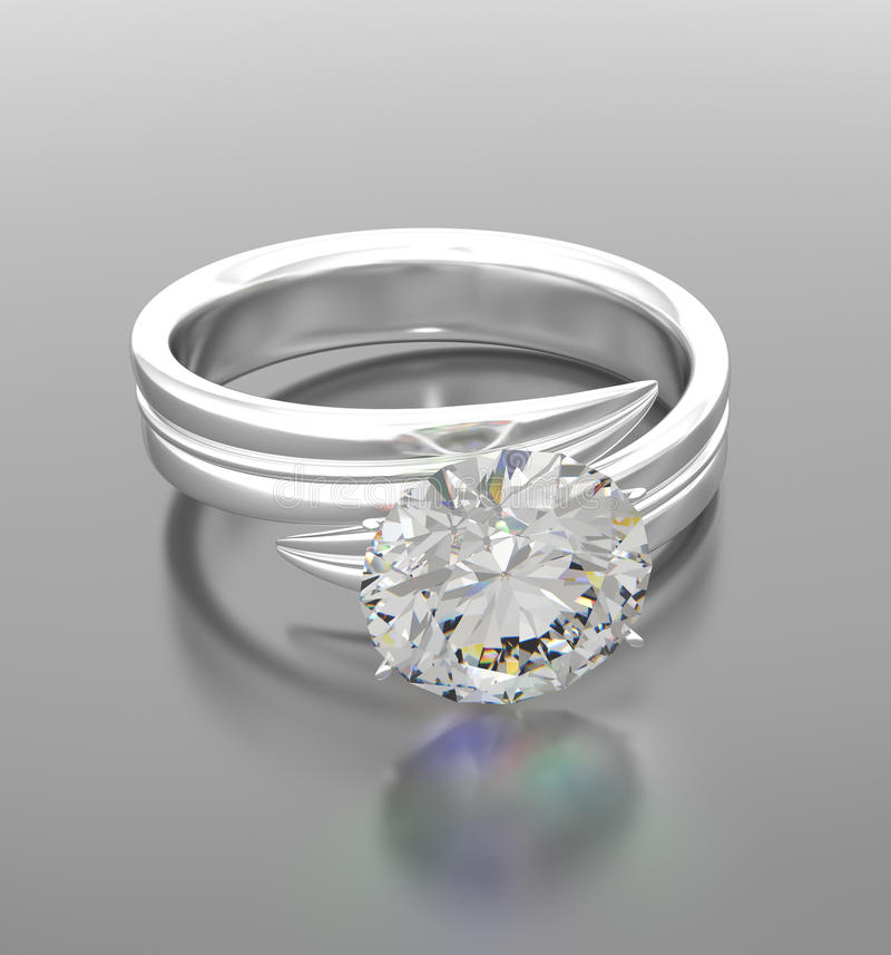 близкое кольцо platinium диаманта вверх иллюстрация вектора