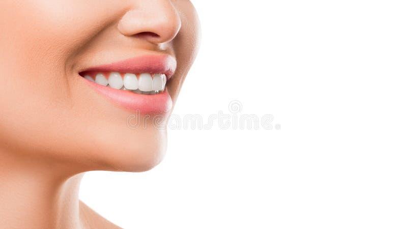 Близкое поднимающее вверх фото усмехаться женщины Зубы забеливая и концепция здоровья стоковые изображения