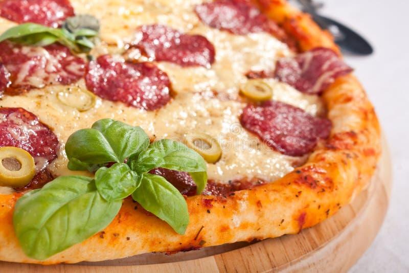 близкое салями пиццы вверх стоковое фото rf