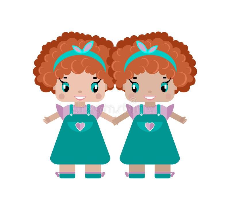 близнецы девушки держат руки, 2 сестры маленькие милые девушки иллюстрация вектора