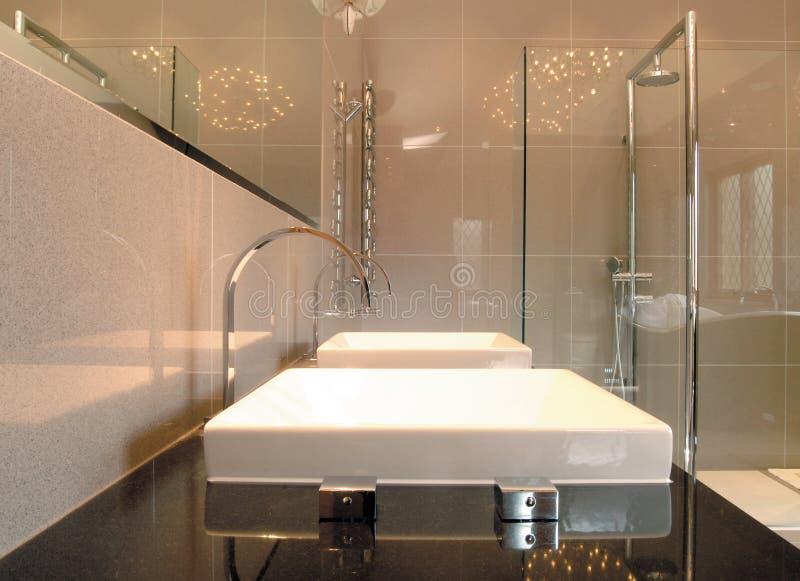 близнец ванной комнаты тазиков стоковое изображение rf