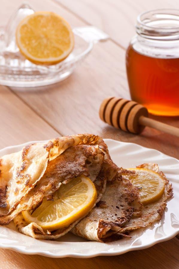 блинчики лимона меда стоковое изображение