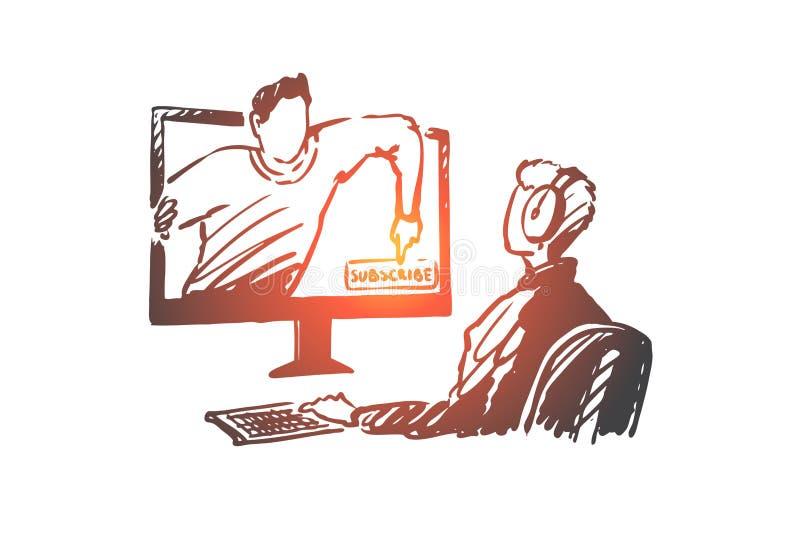 Блоггер, подписывается, видео, интернет, концепция средств массовой информации Вектор нарисованный рукой изолированный иллюстрация вектора