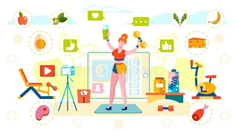 Блогер Healthy Nutrition и Sports Lifestyle бесплатная иллюстрация
