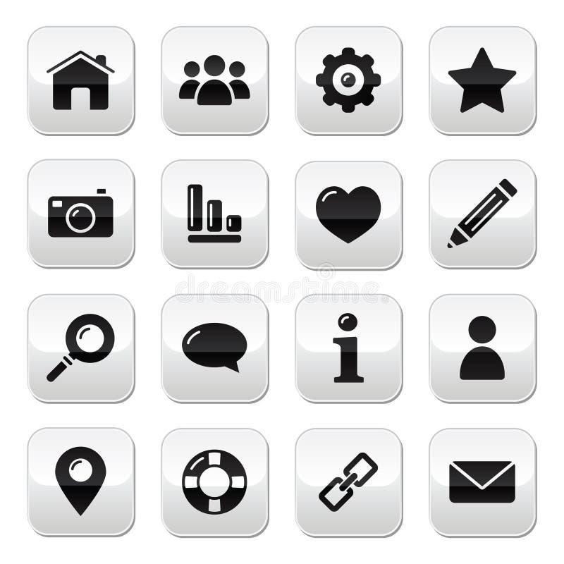 блог застегивает домашний вебсайт навигации меню икон иллюстрация штока