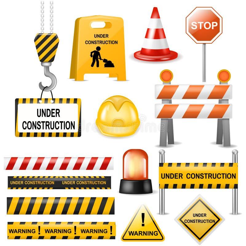 Блоки предупреждения и баррикады движени-барьера улицы вектора барьера дороги на комплекте иллюстрации шоссе барьера detour бесплатная иллюстрация