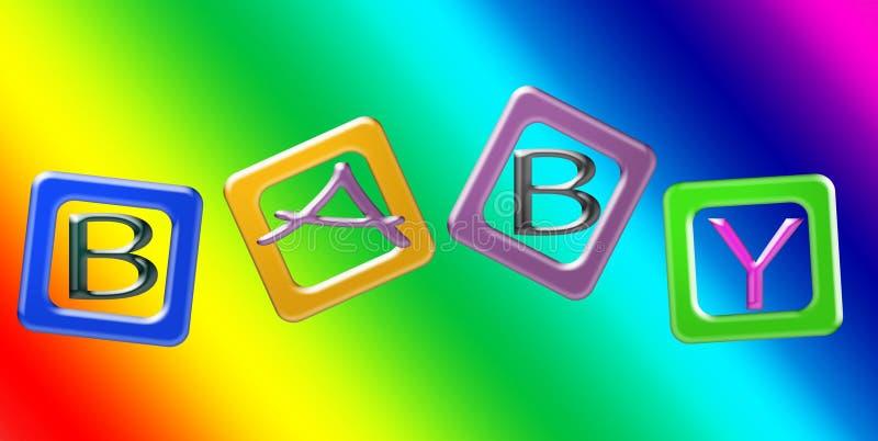 Блоки цвета против живой предпосылки радуги Письма говорят слово по буквам МЛАДЕНЦА иллюстрация вектора