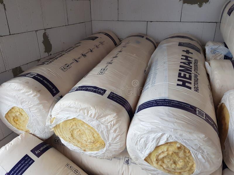 Блок газа домашняя конструкция дом изоляции изоляция жары шерсти базальта стоковое фото