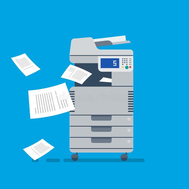 Блок развертки принтера офиса многофункциональный Плоский вектор иллюстрация вектора
