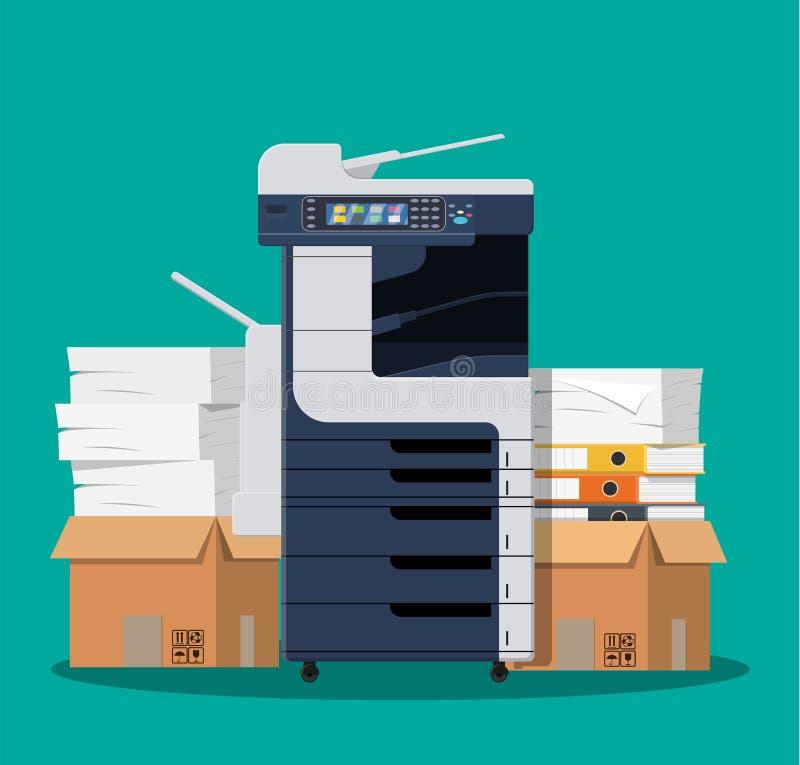Блок развертки принтера офиса многофункциональный иллюстрация штока