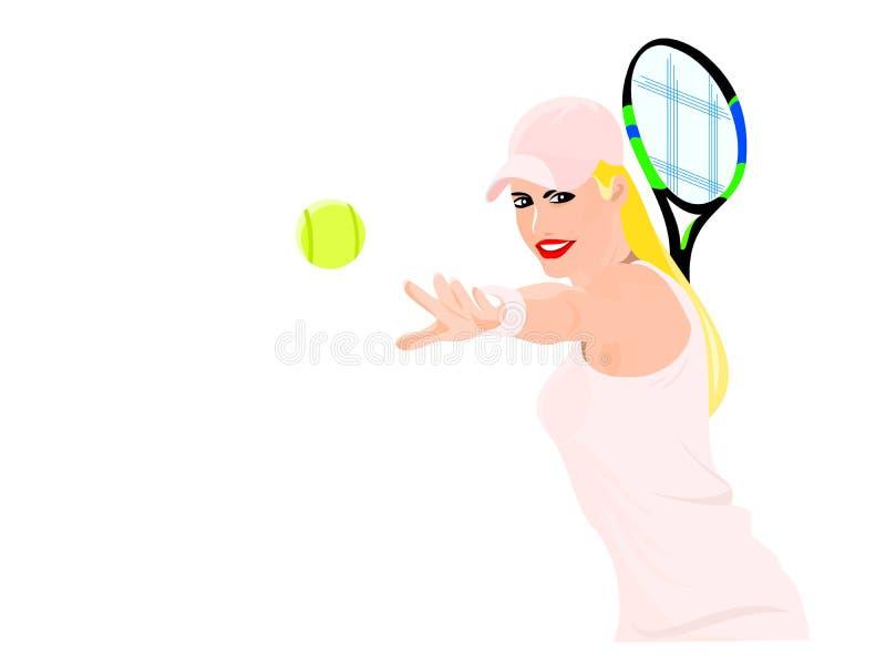 Блондинка в розовом теннисисте принимает ракетку мира тенниса спорта тангажа стоковая фотография rf