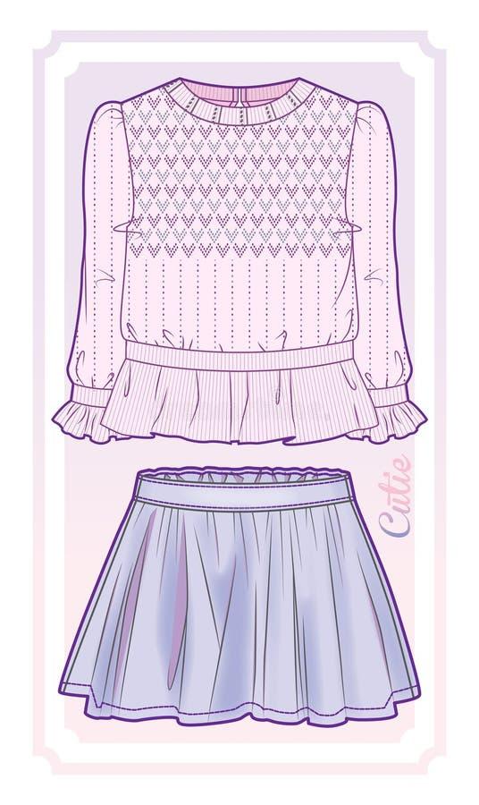 Блузка связанная пинком и flared юбка иллюстрация вектора