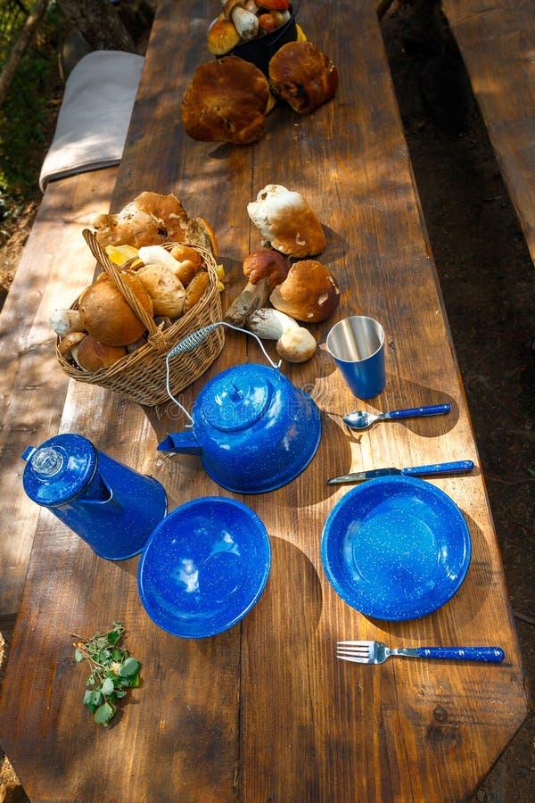 Блюда для располагаться лагерем на таблице стоковая фотография rf