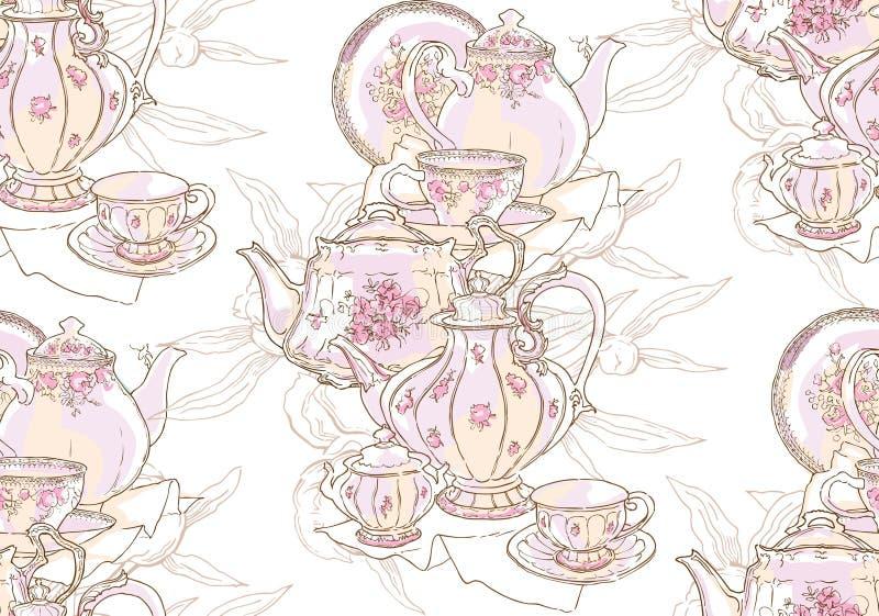 Блюда, чайник, поддонник, чашка r E иллюстрация штока