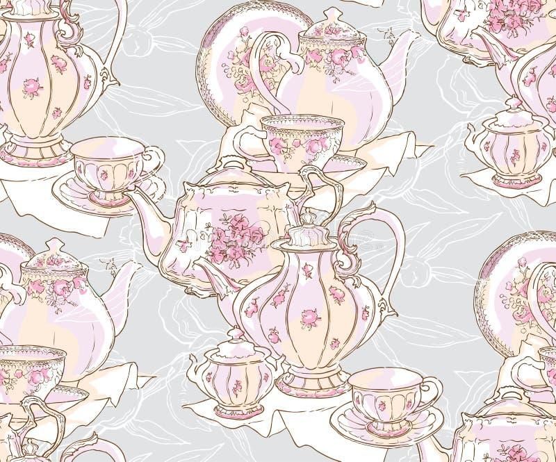 Блюда, чайник, поддонник, чашка r E иллюстрация вектора