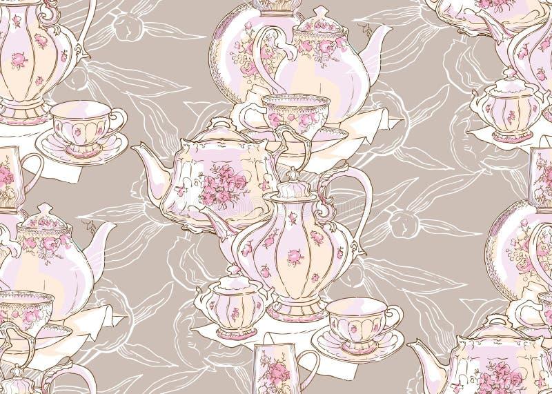 Блюда, чайник, поддонник, чашка r E бесплатная иллюстрация