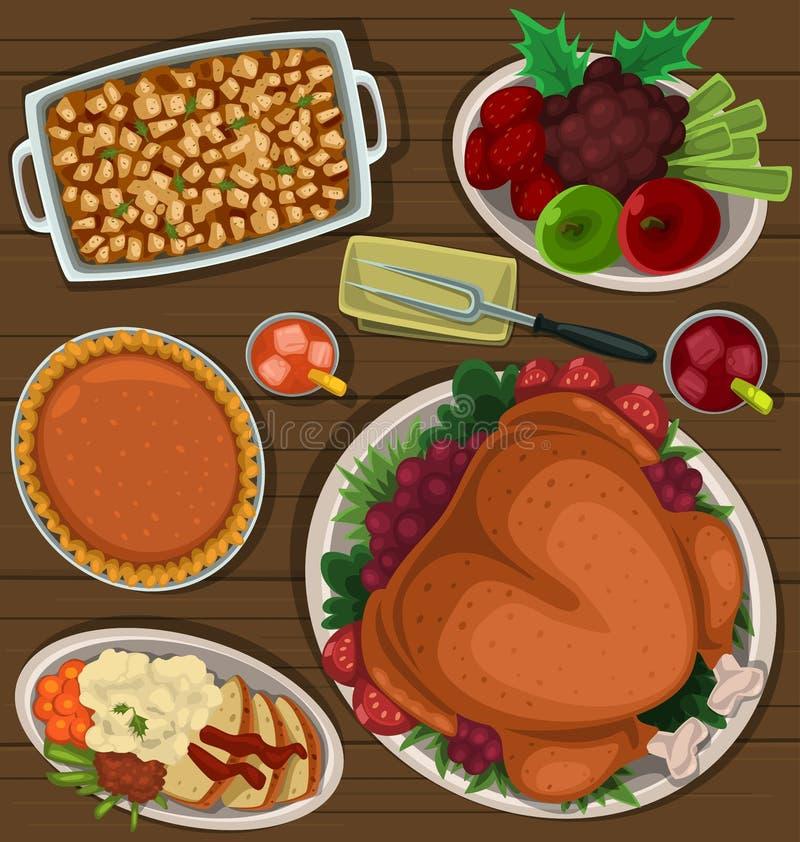 Блюдо благодарения шаржа вектора иллюстрация вектора