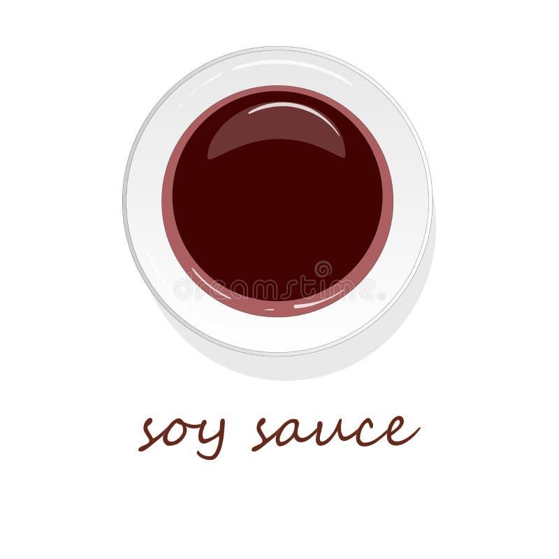 Блюдо изолированной иллюстрации соевого соуса бесплатная иллюстрация