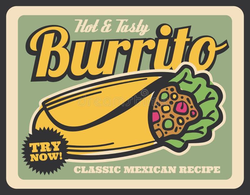 Блюдо кухни буррито мексиканское, вектор иллюстрация штока