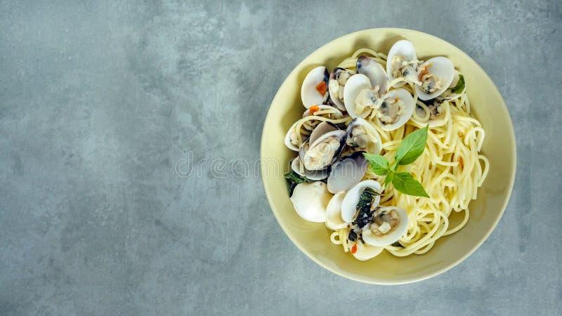 Блюдо морепродуктов макаронных изделий Clams стоковые фото