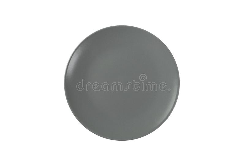 Блюдо пустого круга серое изолированное на белой предпосылке, взгляде сверху стоковые изображения