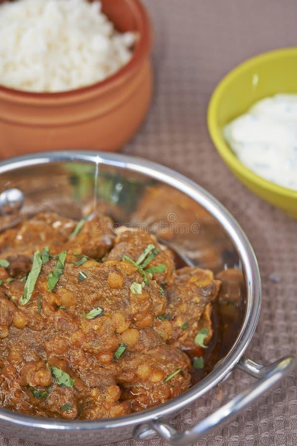 Блюдо Balti мяса и чечевицы стоковые фотографии rf