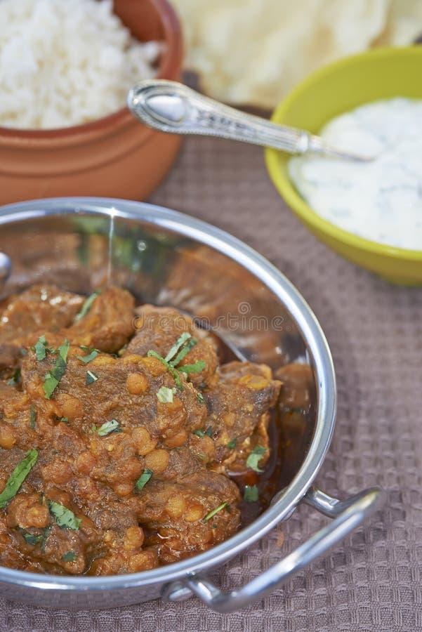 Блюдо Balti мяса и чечевицы стоковая фотография