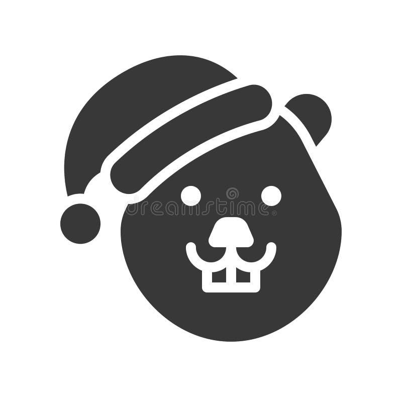 Бобр нося дизайн значка силуэта шляпы santa иллюстрация вектора