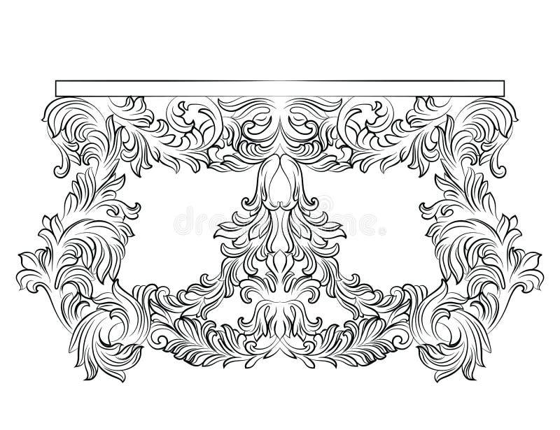 Богатая барочная таблица commode с ящиками иллюстрация вектора