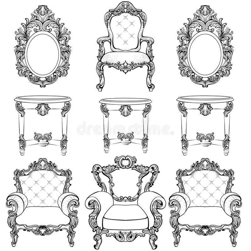 Богатая имперские барочные установленные мебель и рамки рококо Французской орнаменты высекаенные роскошью Стиль вектора викториан иллюстрация вектора