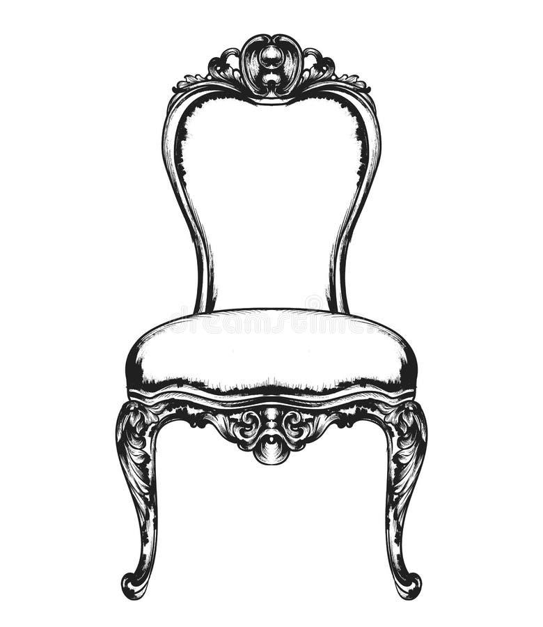 Богатое классическое кресло Королевские decotations стиля Викторианские орнаменты выгравировали Имперское оформление мебели векто иллюстрация штока